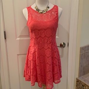 BeBop Sleeveless Coral Lace Fit & Flare Dress